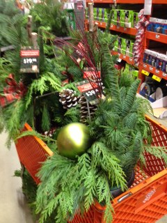 store cart with holiday containers