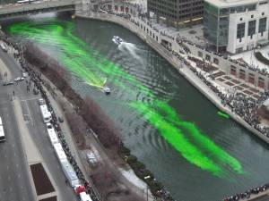 Chicago River turning green on St. Patrick's Day