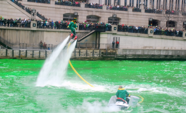 Flying Leprechaun in Chicago for St. Patrick's Day celebrations.